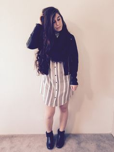 Great Spring Look! Vertical striped t-shirt dress layered with a light leather jacket and comfy infinity scarf. Pair it with your favorite booties!