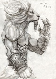 Lion Warrior by Kimsuyeong81 cat humanoid fighter monk barbarian gladiator armor clothes clothing fashion player character npc | Create your own roleplaying game material w/ RPG Bard: www.rpgbard.com | Writing inspiration for Dungeons and Dragons DND D&D Pathfinder PFRPG Warhammer 40k Star Wars Shadowrun Call of Cthulhu Lord of the Rings LoTR + d20 fantasy science fiction scifi horror design | Not Trusty Sword art: click artwork for source
