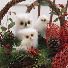 twin 2 floofy poofy white marabou feather snowy owls christmas tree ornaments decorations crafts