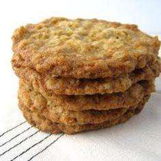 Crisp Oatmeal Cookies Recipe Desserts with brown sugar, margarine, salt, vanilla, flour, quick-cooking oats