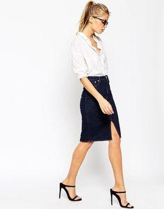 Image 1 ofASOS Denim Split Front Midi Pencil Skirt in Indigo