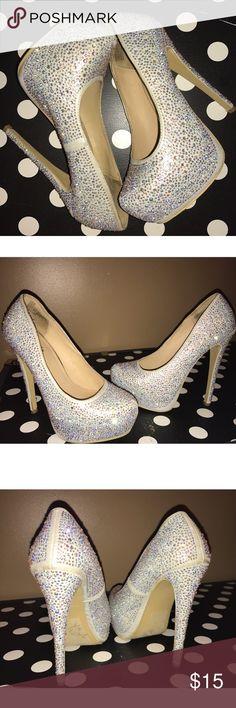 Cinderella Silver Rhinestone Heels Charlotte Russe, Cinderella Silver Rhinestone Round Toe, Platform Heels Charlotte Russe Shoes Heels