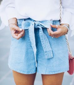 Tie Denim Shorts