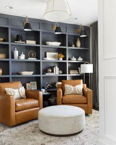Built In Shelves Living Room, Wall Bookshelves, Built In Bookcase, Bookcases, Bookshelf Ideas, Blue Home Offices, Front Room Design, Office Built Ins, Leather Swivel Chair