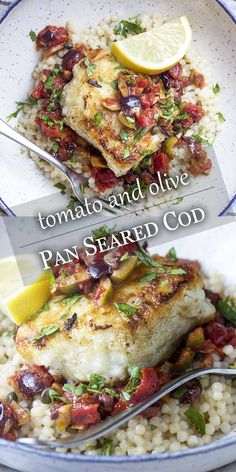 Pan Seared Cod with Tomatoes and Olives – Just a Little Bit of Bacon For an easy and healthy weeknight dinner you'll love crispy pan seared cod with tomatoes, olives, and capers in a white wine and lemon sauce. Cod Fish Recipes, Seafood Recipes, Chicken Recipes, Cooking Recipes, Cooking Fish, Meatball Recipes, Steak Recipes, Recipes Dinner, Pasta Recipes