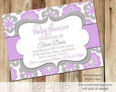 Girl Baby Shower Invitation lavender grey gray Floral  by starwedd