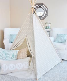 Linen Dots Ikat Fabric Play Tent Teepee Playhouse by AshleyGabby on Etsy https://www.etsy.com/listing/216474987/linen-dots-ikat-fabric-play-tent-teepee