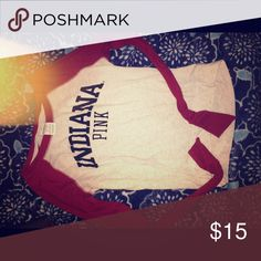 """VS PINK INDIANA UNIVERSITY IU LONG SLEEVE LOVE this top but it is quite small on me now, it fits tighter in the sleeves and looser in the body, """"Indiana"""" feels like a velvet material PINK Victoria's Secret Tops Tees - Long Sleeve"""