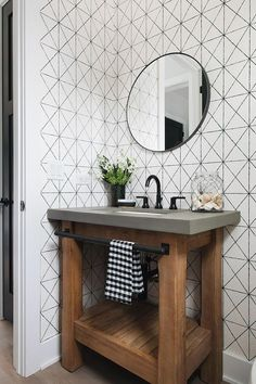 bathroom wallpaper A Street Prints-Intersection Black Geometric Wallpaper Mid Bathroom Styling, Bathroom Interior Design, Home Interior, Decor Interior Design, Interior Design Farmhouse, Modern Interior, Interior Lighting, Luxury Interior, Bad Styling