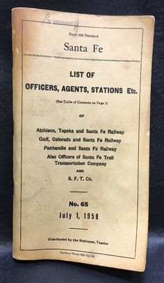 Vintage 1958 Santa FE Railroad Railway List of Officers Agents Stations Etc | eBay