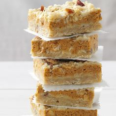 Pumpkin Cream Cheese Bars Recipe. #TheTexasFoodNetwork #ChefPogue share your recipes with us facebook.com/TheTexasFoodNetwork