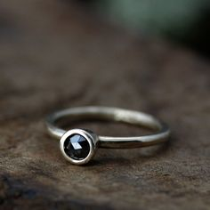 rose cut black diamond hera solitaire ring - recycled 14k yellow gold / engagment / wedding ring. $600.00, via Etsy. // so should that day ever come I wish for a simple lovely ring like this
