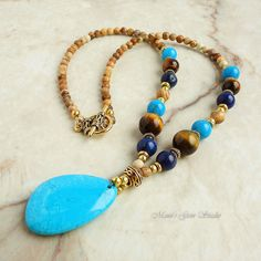 Blue and Brown Stone Pendant Necklace - Magnesite, Lapis Lazuli, Tiger Eye, Picture Jasper, Gold Brass
