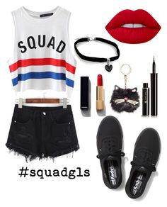 """#squadgls"" by ashlynturnup ❤ liked on Polyvore featuring Chicnova Fashion, Chanel, Keds, Lancôme, Lime Crime and Kate Spade"