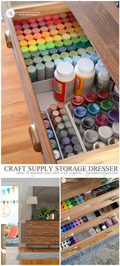 'Craft Supply Storage Dresser: ideas to organize and store craft supplies...!' (via bystephanielynn.com)