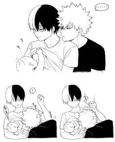 "Bakugou Katsuki x Todoroki Shouto / Boku no Hero Academia ""Saving it because. seeing Shouto simply breastfeeding a baby is just. too precious. My Hero Academia Episodes, My Hero Academia Manga, My Hero Academia Memes, Mpreg Anime, Haikyuu Anime, Couple Anime Manga, Manga Anime, Cute Anime Boy, Anime Love"