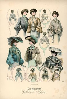 Six Shirtwaist designs illustrated in De Gracieuse, 1902