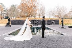 First Look Bride in Lana Addison Bridal Gown Winter at North Carolina Museum of Art NCMA Raleigh Wedding Venue Duffield Winter Wedding Receptions, Wedding Reception Design, Wedding Ceremony, Wedding Venues, Science Wedding, Black Bridesmaids, Winter Wedding Inspiration, Outdoor Sculpture, Dance The Night Away