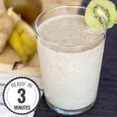 A super simple and super healthy green and white spicy Kiwi Banana Smoothie. High in vitamin C, fiber and potassium. Delicious and tasty. (with Video!)
