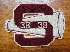 Vintage 1930s 30s chenille sew on S Letterman patch college high school varsity burgundy red white loudhailer megaphone American rockabilly by TheDustbowlVintage on Etsy https://www.etsy.com/listing/241765614/vintage-1930s-30s-chenille-sew-on-s