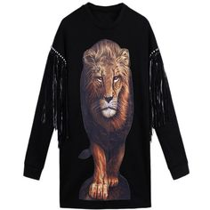 Black Pullover Fringe Stud Crew Neck Lion Printed Sweatshirt (697.075 IDR) ❤ liked on Polyvore featuring tops, hoodies, sweatshirts, black, studded sweatshirt, black crew neck sweatshirt, black sweatshirt, pullover sweatshirts and sweat shirts
