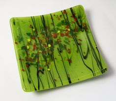 Fused Glass Plate - love the fresh green color.  Reminds me of spring