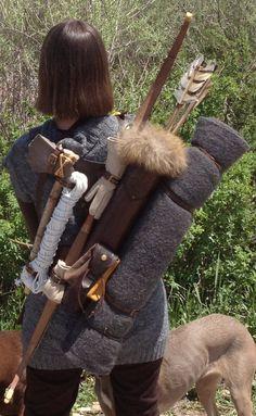 """Multifunctional Tooled Leather Quiver """"PAM"""" Holding a Bow, an Axe, a Knife and a Rope with a Detachable Pouch by MadeOfLeather Leather Quiver, Leather Tooling, Tooled Leather, Leather Bracers, Leather Bow, Outdoor Survival, Survival Gear, Survival Skills, Survival Prepping"""