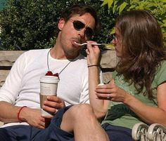 RDJr n wife eating ice cream...