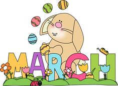 Month of March Easter Bunny Clip Art - Month of March Easter Bunny Image