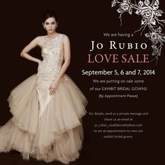 """We would like to spread some """"Jo Rubio Love"""". In celebration of our 12 years, we are holding a Jo Rubio Love Sale. A Thanksgiving to our 12 fruitful years in making romantic dreams come true.   Spread the Jo Rubio Love"""