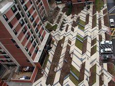 colored concrete plaza