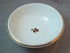 White Ironstone Plain Shape Wash Bowl / Basin - Copper Lustre Tea Leaf #ArthurJWilkinson