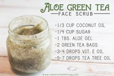DIY: aloe green tea face scrub