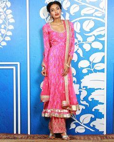 Pink Bandhani Palazzo Kurta Set with Gota Work - Anita Dongre - Designers