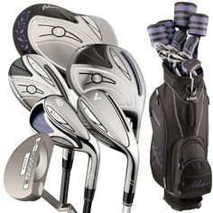 The Adams Women's idea 12pc Blackberry Right-Hand are a lightweight golf set and great for someone who is new to golf or has been playing golf for many years.   They are a complete golf club set that starts with an easy to hit driver along with three high-launching fairway woods that add extra distance to your game.