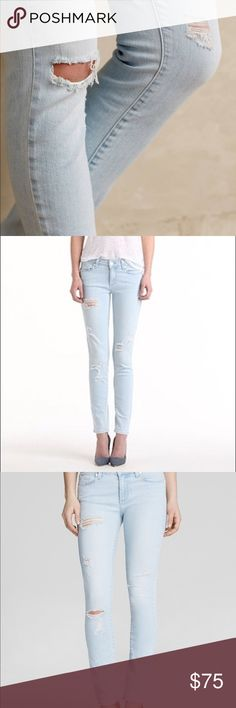 """Paige Verdugo Ultra Skinny Jean with Raw Edge A super stretchy, mid rise, ultra skinny jean that grazes the ankle with a raw edge, making it perfect for showing off your favorite footwear. This pair comes in a super light wash with distressed details and a pronounced caballo inseam. Finished with a zip fly, single-button closure, and Paige brand patch.  8 1/8"""" rise 29-30"""" inseam PAIGE Jeans Ankle & Cropped"""