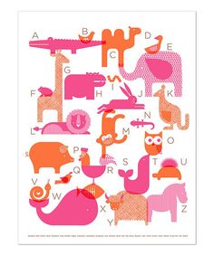 Pink ABC Animal Print by Petit Collage