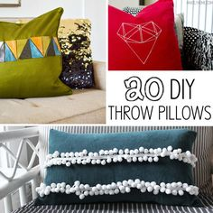 20 DIY throw pillows with step-by-step tutorials - via MakelyHome.com