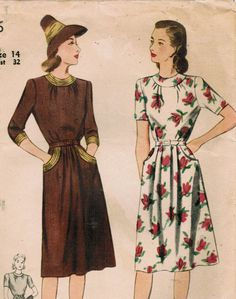 1940s Simplicity 4506 Vintage Sewing Pattern Misses' Dress in Day or Evening Length Size 14 Bust 32