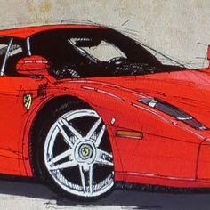 Ferrari handmade drawing detail #ferrari #poster #print #artist...
