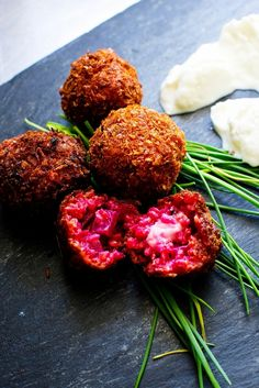 Beetroot Arancini - Peony Lim/ For the Risotto  3 Beetroots (peeled, cubed & steamed for 15mins) 200g Risotto Rice 3 cups Chicken Stock 1 cup White Wine 1 Onion Finely Chopped 2 Garlic Cloves 1 Tbsp Butter 1 Tbsp Olive Oil To make into Arancini  1 Ball of Mozzarella 2 Eggs 1 cup of Breadcrumbs Salt and Pepper Oil for Frying