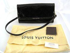 LOUIS VUITTON Vernis Amarante Patent Leather Rossmore Monogram Plum Clutch $1400