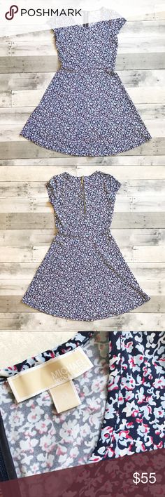 Michael Kors Floral Skater Dress Gorgeous dress in blue, white, and red floral print in PERFECT condition! Michael Kors Dresses
