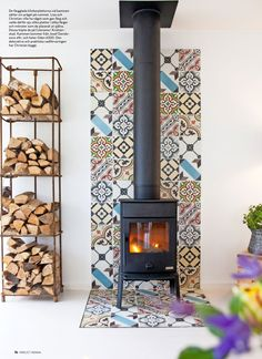 Excellent Pictures Wood Stove surround Ideas Although timber is the most eco-friendly heating system technique, the item never definitely seems to be menti. Wood Stove Wall, Corner Wood Stove, Wood Stove Surround, Wood Stove Hearth, Wood Burner Fireplace, Freestanding Fireplace, Fireplace Remodel, Fireplace Design, Home Deco