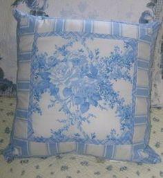 Rachel-Ashwell-BRIGHTON-BLUES-Shabby-Chic-BLUE-ROSES-Cotton-Pillow
