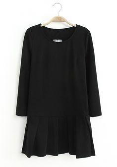 Black Plain Round Neck Above Knee Knit Dress