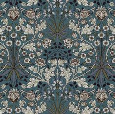 As part of the House of Hackney x William Morris collection, the 'Hyacinth' print is reimagined and remastered. The Art Nouveau design features plant formations block-printed onto paper - a William Morris signature. William Morris Wallpaper, William Morris Art, Morris Wallpapers, Motifs Art Nouveau, Art Nouveau Design, Art Deco, Design Art, Vintage Design, Vintage Prints