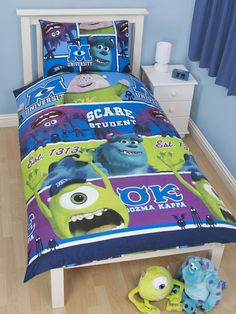 Monsters University Duvet Cover Pillowcase - Official merchandise Features Mike Sulley Art and Squishy Duvet Cover and Bedding Set!