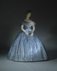 Ball gown (image 2) | probably American | 1860 | silk, cotton | Metropolitan Museum of Art | Accession Number: 1983.479.1a–c