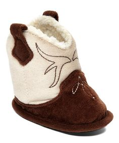 Loving this Brown & Tan Embroidered Velour Western Slipper on #zulily! #zulilyfinds